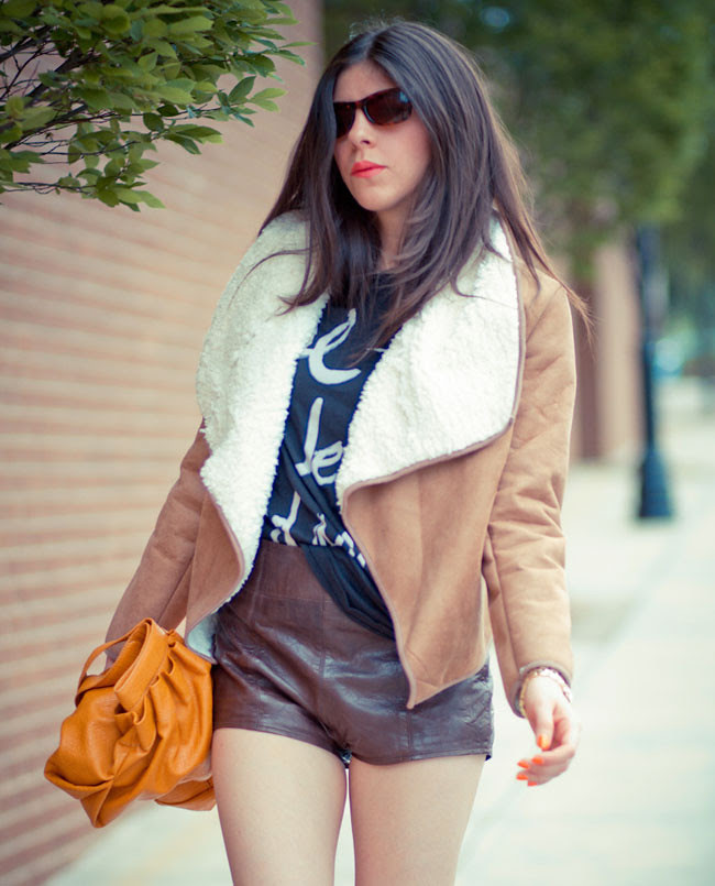 Leather Shorts, Marc Jacobs Gold Watch, Mink Pink Shearling Jacket, Fashion Outfit, Chloe Sevigny boots