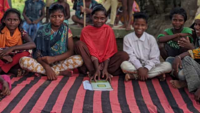 Children at Dularpur village in Nawada are tutored by well-meaning NGOs in the region. Firstpost/Devparna Acharya