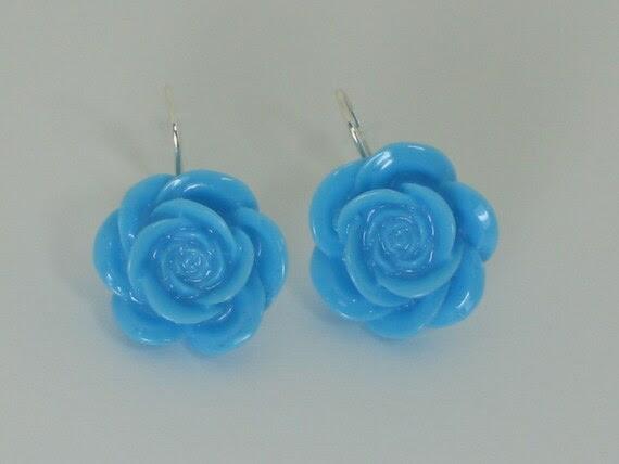 Vintage Inspired Lucite Roses on Fishhook Earrings