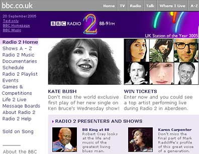 Kate Bush on the BBC homepage