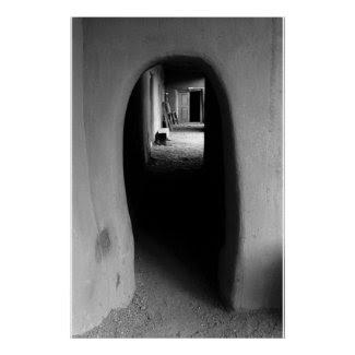 Adobe Passageway: Black & White photo Poster
