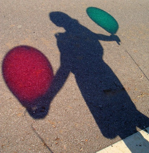 Shadow person with shadow balloons
