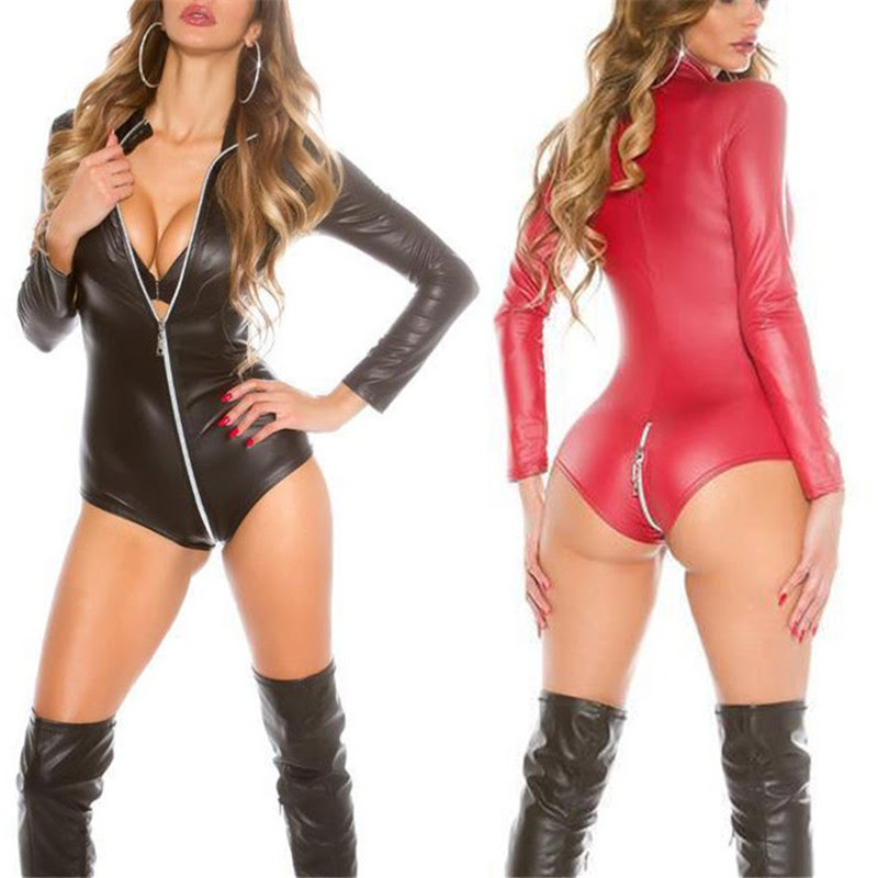 Get  Pu Leather Sexy Lingerie Hot Erotic Lingerie Sex Costume Lenceria Wrapped Hip Zipper Sexy Costumes