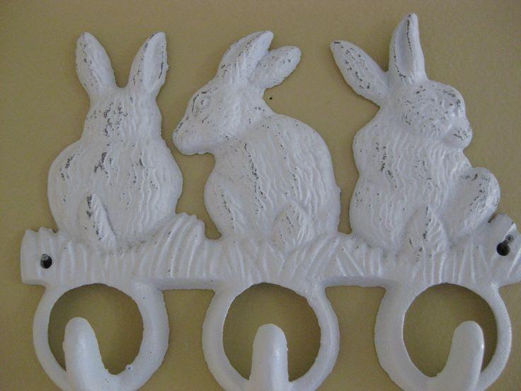 nursery rabbit theme   bunny rabbit hooks shabby white cast iron hanger by riricreations