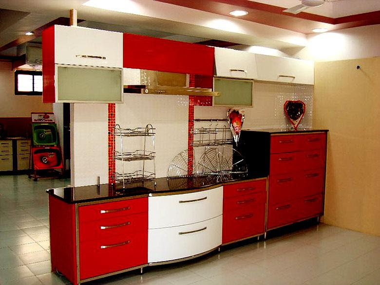 Home Architec Ideas Kitchen Design Red And White