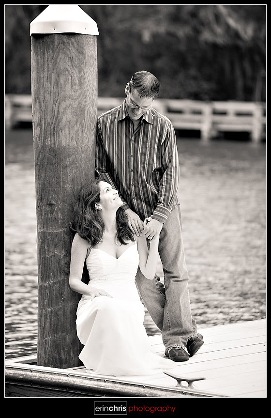 picture on a dock in a wedding dress