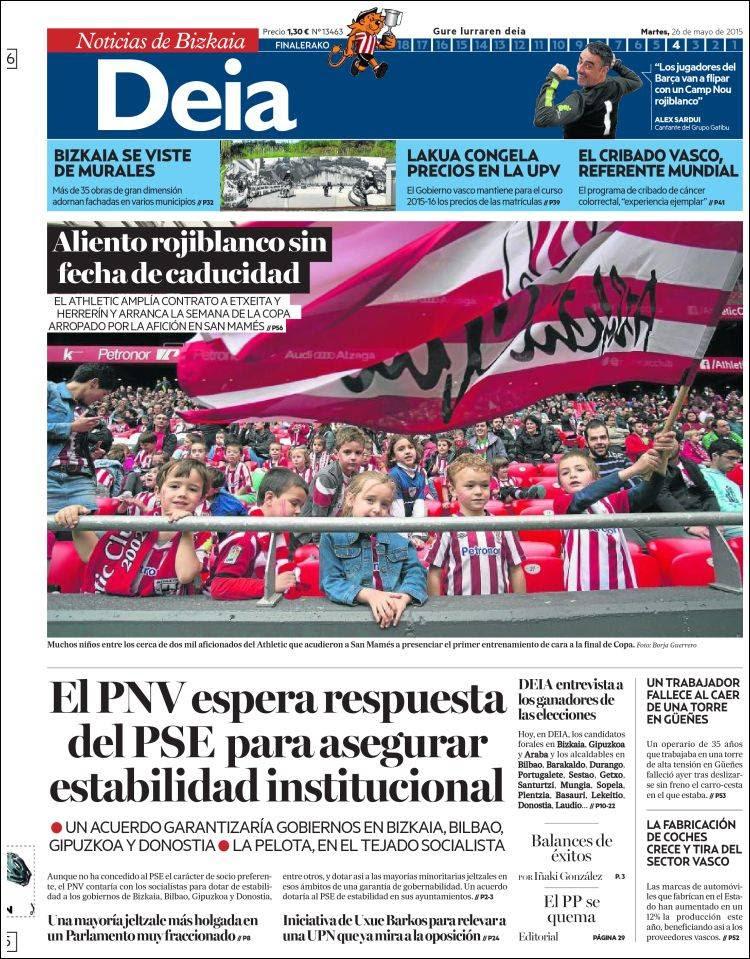 Periodico Deia Espana Periodicos De Espana Edicion De Martes 26