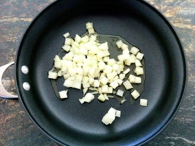 Diced Onion Added to Olive Oil