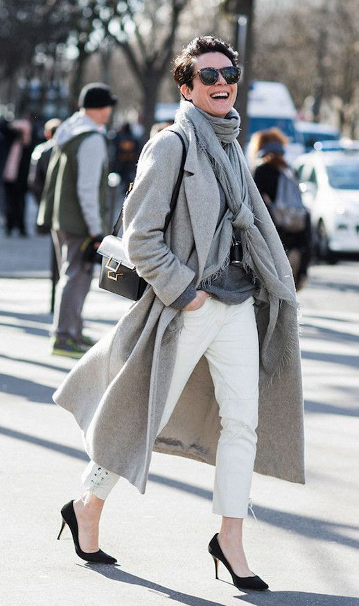 Le Fashion Blog French Girl Gray Coat Gray Scarf White Jeans Black Pumps Via Sandra Semburg