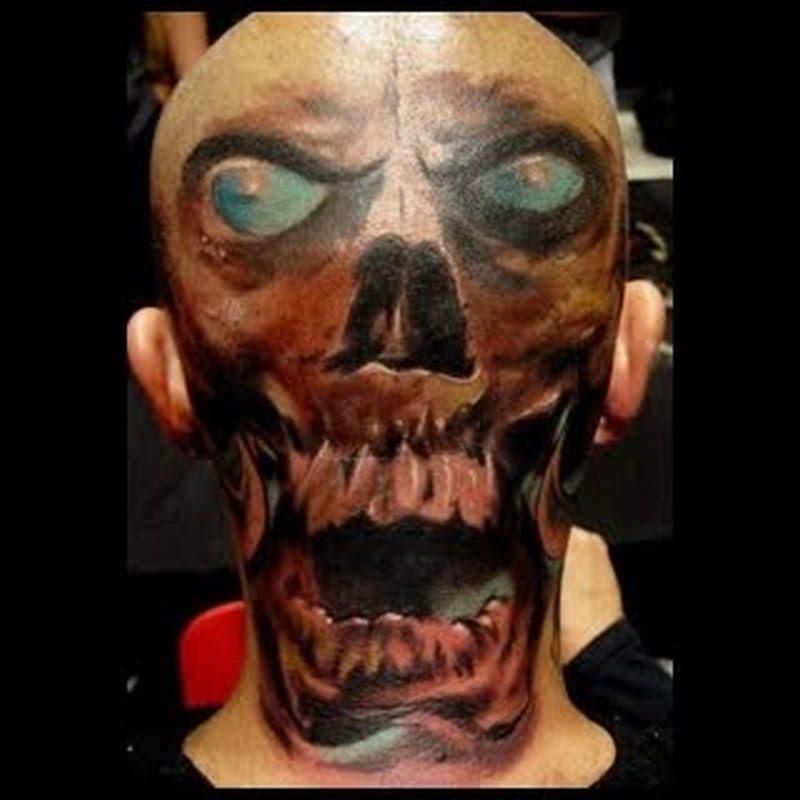 Blue Eyed Skull Tattoo On Back Of Head Tattoos Book 65000