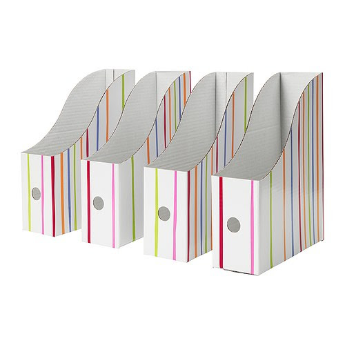 """LINGO Magazine file, stripe Width: 3 ½ """" Depth: 9 ¾ """" Height: 12 ¼ """" Package quantity: 4 pack  Width: 9 cm Depth: 25 cm Height: 31 cm Package quantity: 4 pack"""
