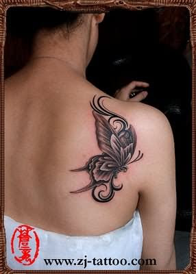 Tribal And Butterfly Tattoo On Girl Back Shoulder
