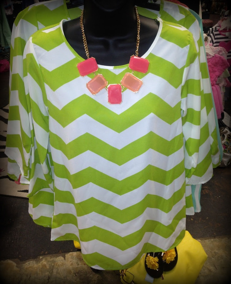 Kiwi Colored Chevron Top!
