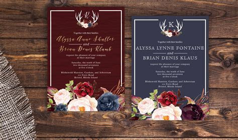 Navy and marsala wedding invitation. Rustic wedding