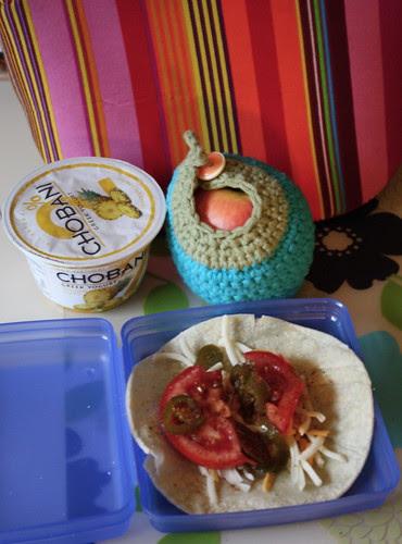 lunch-chobani pineapple, pink lady apple, taco