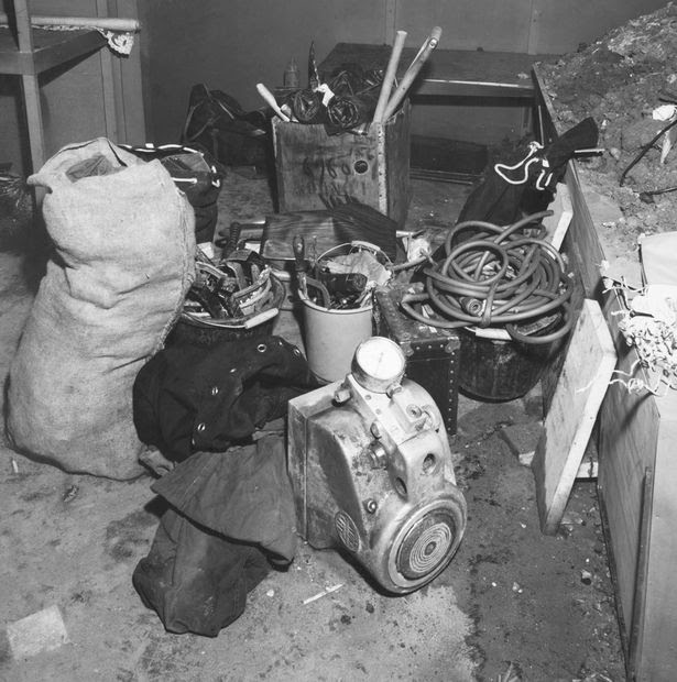Rubbish and rubble left in the basement of the Le Sac shop by the robbers