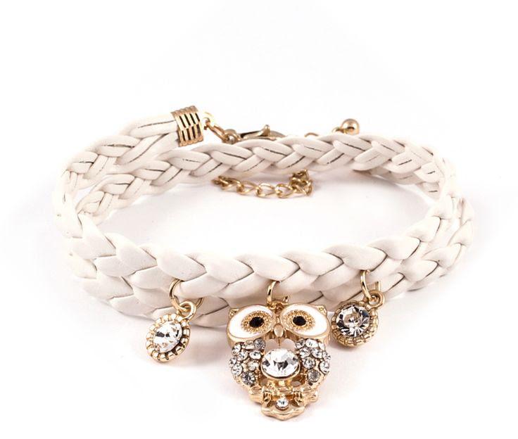 Crystal #Owl Bracelet in Ivory