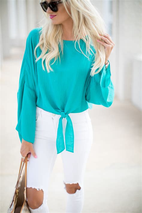 turquoise tie top white denim