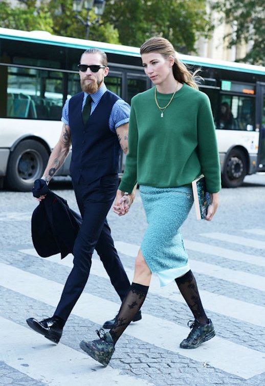 LE FASHION BLOG  BEARDS + BABES PART 4 JUSTIN OSHEA VERONIKA HEILBRUNNER VIA TOMMY TON GREEN SWEATSHIRT EMBELLISHED MIDI SKIRT KNEE HIGH LACE SOCKS HIGH TOP PRINT SNEAKERS HALF UP HAIR LAYERED NECKLACE ROLLED UP SHORT SLEEVE DRESS SHIRT TIE VEST SKINNY TROUSERS PANTS PATENT OXFORDS TATTOOS BUYING DIRECTOR MY THERESA MENSWEAR INSPIRATION FASHION WEEK STREET STYLE FASHION EDITOR  1 photo LEFASHIONBLOGBEARDSBABESPART4JUSTINOSHEAVERONIKAHEILBRUNNERVIATOMMYTON1.jpg