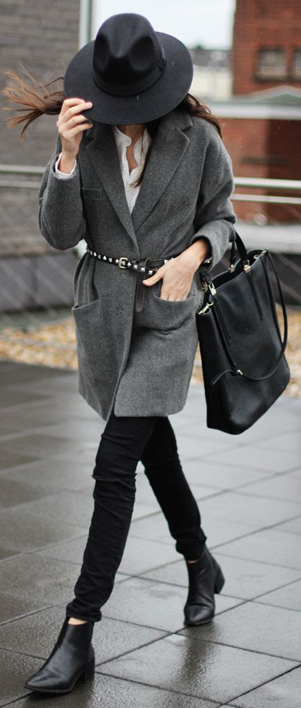 Grey Belted Coat by The Fashion Cuisine