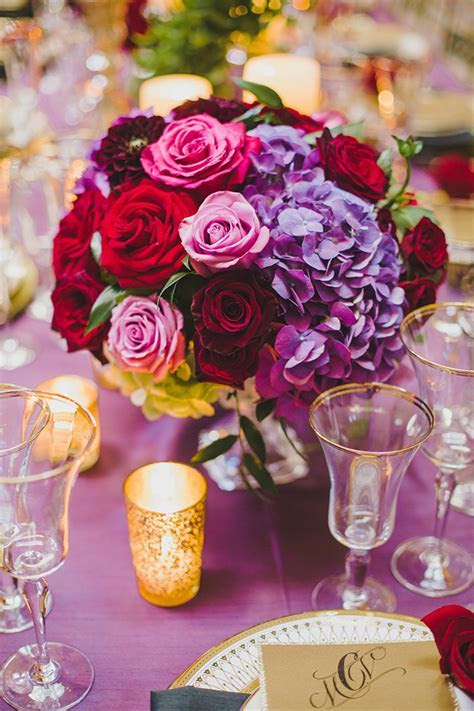 Glam Red and Purple Wedding Inspiration   Glamour & Grace