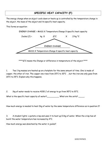 Specific Heat Capacity Problems by MadmisterK   Teaching