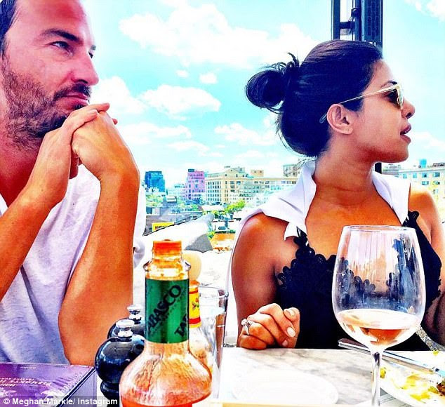 This August, Markus (left) and Meghan flew to New York where they met for lunch with Priyanka Chopra (right), star of TV show Quantico. They dined on the rooftop of Soho House in the Meatpacking District of Manhattan