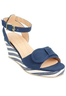 Sophie Striped Wedge Sandal by Comfortview® | Plus Size sandals | Roamans