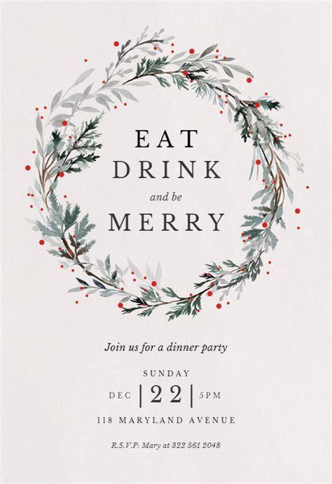 Holiday wreath   Christmas Invitation Template (Free