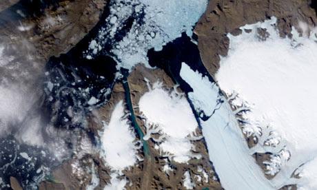Ice Island calves off Petermann Glacier along the northwestern coast of Greenland, Arctic