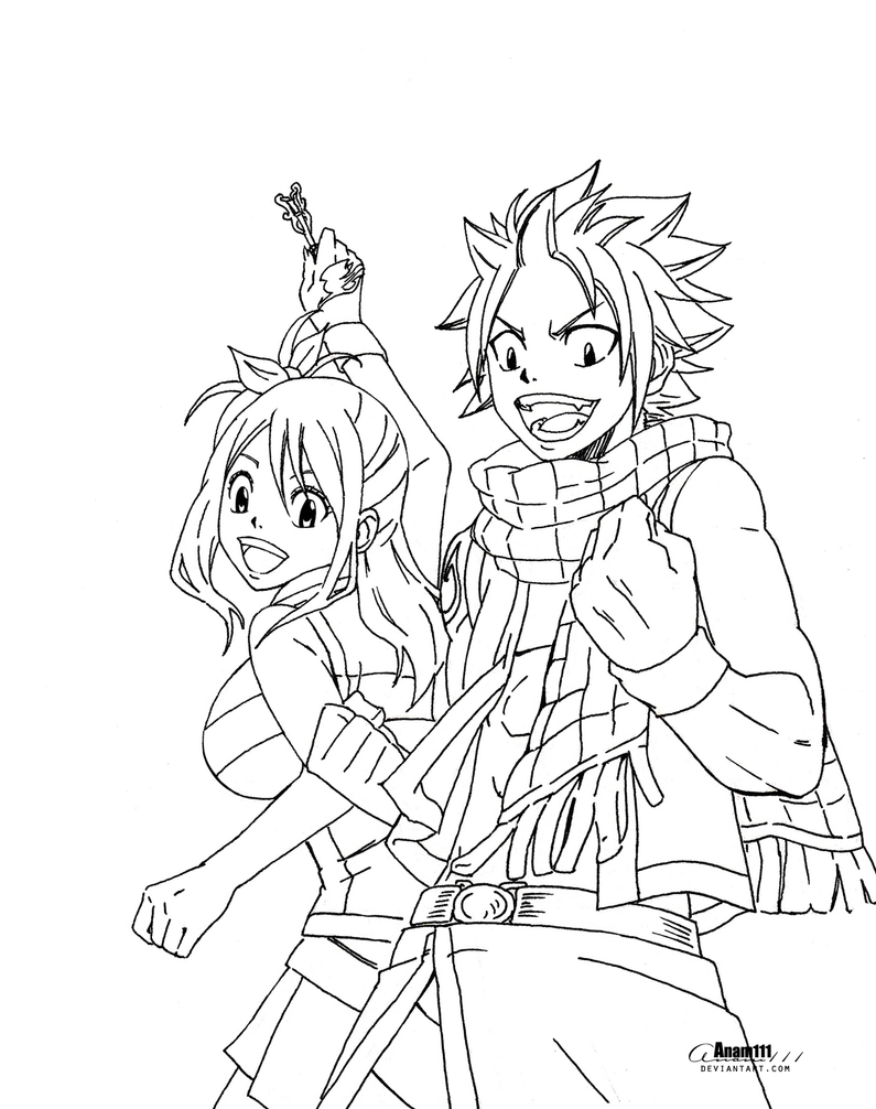 natsu and lucy , no coloring by Anam111 on DeviantArt