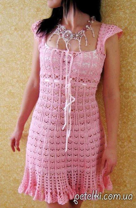 Pink gancho vestido.  Esquemas de tejer
