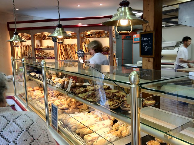Pastries inside the Boulangerie in Monflanquin