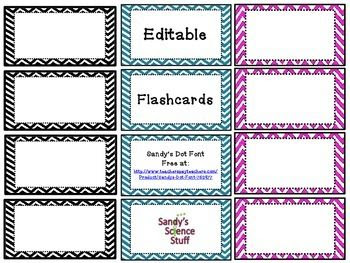 Chevron Flashcards (editable) | fonts, frames, and graphics ...