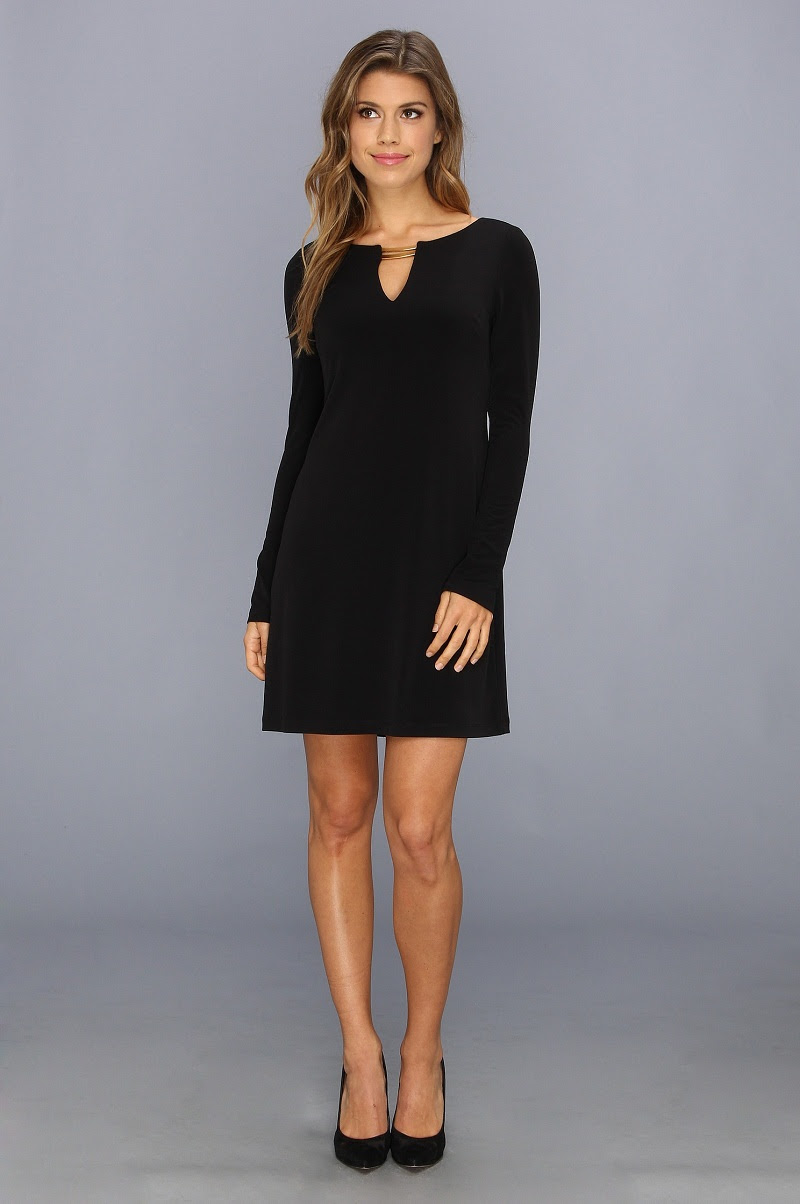 Long Sleeve Black Shift Dress1