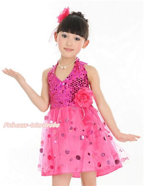 hot pink halterneck sparkle sequins kids girl dance party