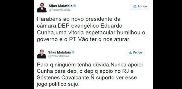 20.ago.2015 - Pastor Silas Malafaia se contradiz sobre seu apoio a Eduardo Cunha em mensagens na rede social Twitter