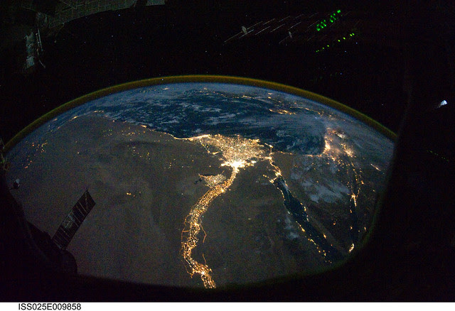 Cairo and Alexandria, Egypt at Night (NASA, International Space Station Science, 10/28/10)
