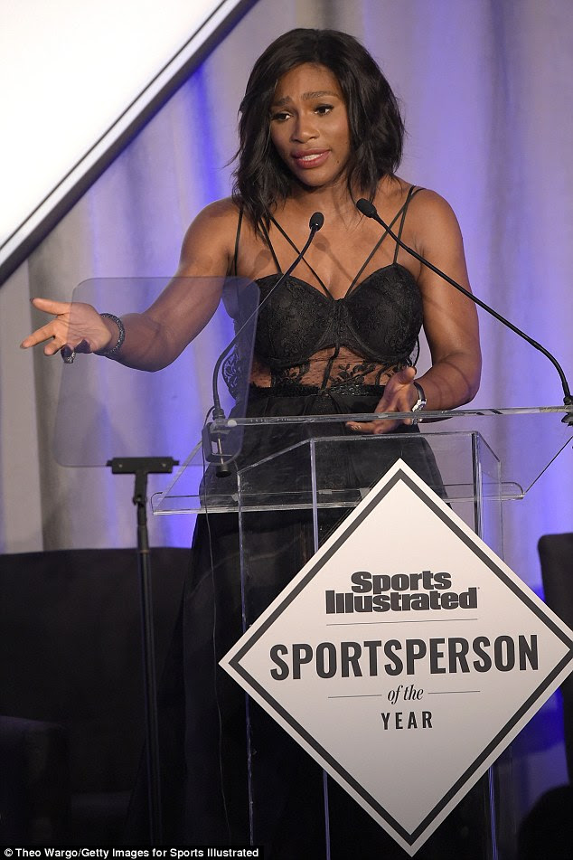 Williams told the crowd: 'When I first learned that I would be Sportsperson of the Year, I could not believe it. It had been over 30 years since the last time SI had recognised a woman'
