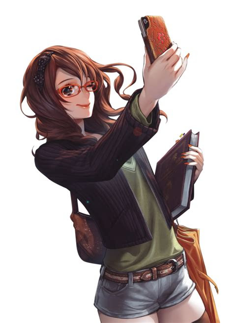 brown hair anime girl glasses phone render png
