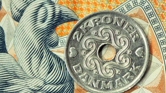 A Danish two krone coin