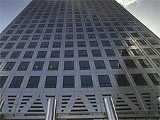 A close-up of a skyscraper in Canary Wharf in London