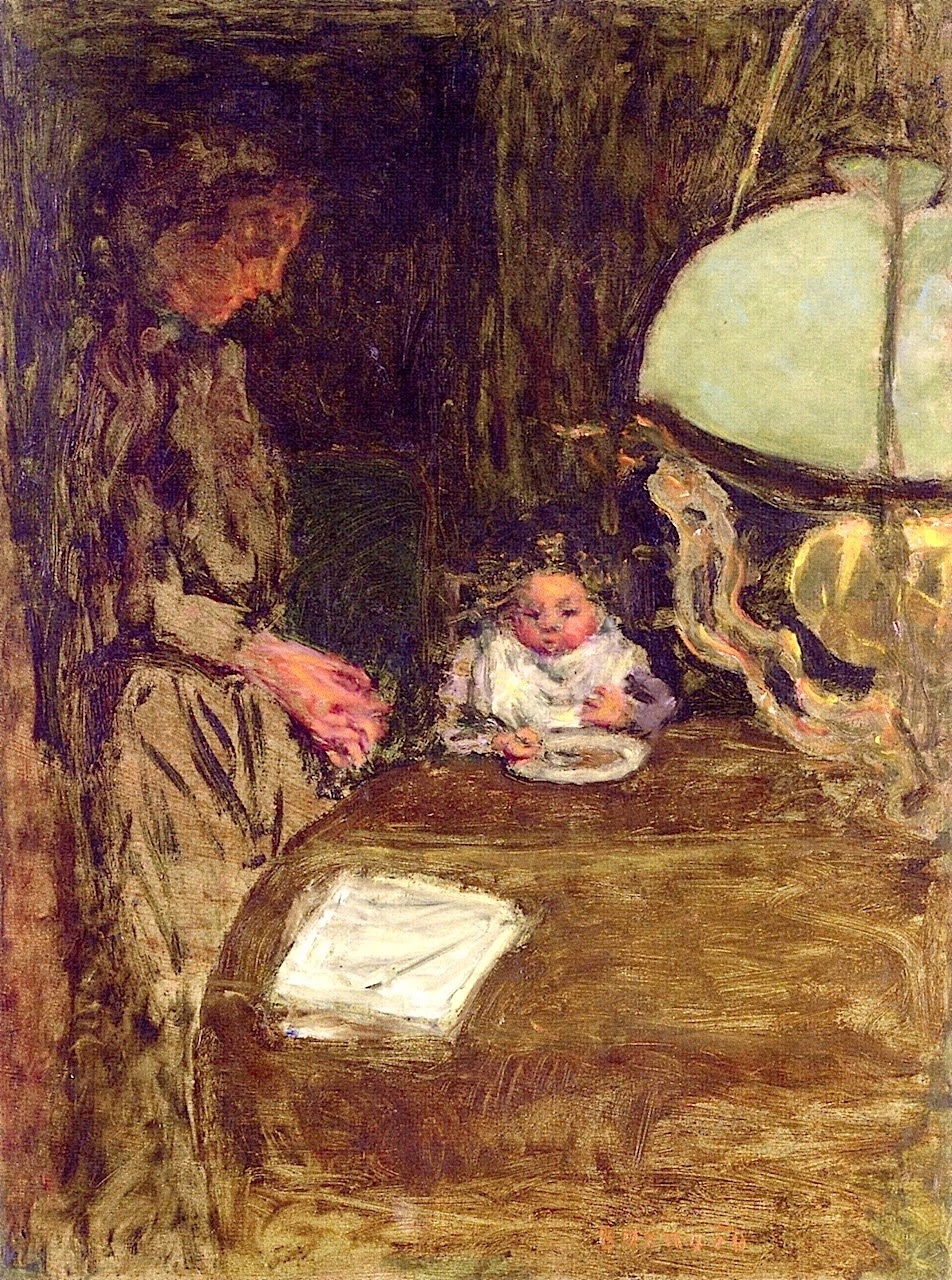 The Baby's Dinner with a Green Lamp Pierre Bonnard