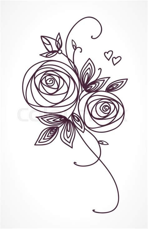Roses. Stylized flower bouquet hand drawing. Outline icon