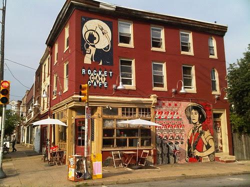 Rocket Cat Cafe and Shepard Fairey mural