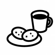コーヒーとクッキーシルエット イラストの無料ダウンロードサイト