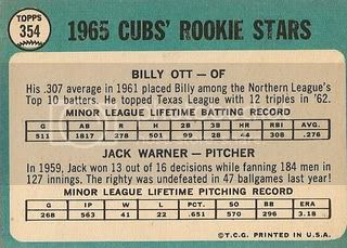 #354 Cubs Rookie Stars: Billy Ott and Jack Warner (back)