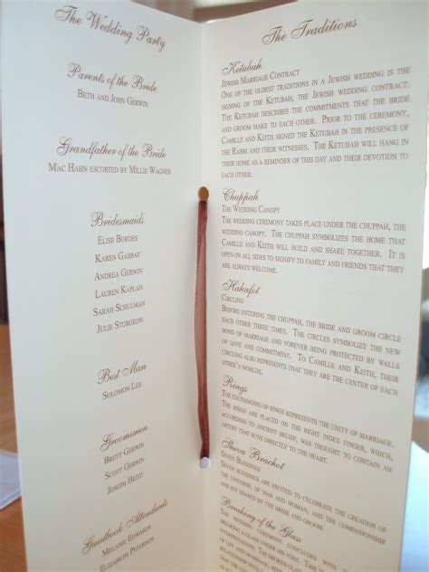 Bashert Weddings: Wedding Programs: why have them, what to