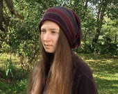 Slouchy hat striped beanie merino hat winter fall autumn purple brown headwear OOAK