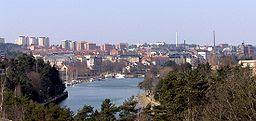Södertälje från nya Saltsjöbron.